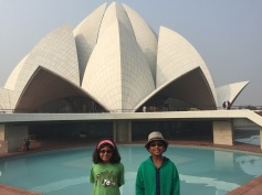 This is us with the lotus temple in Delhi